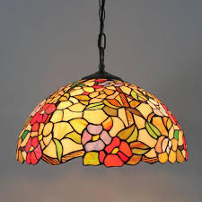 Tiffany European Style Stained Glass Flowers Series Rose Pendant Lights Lighting Fixtures Study Room Living Lamps Dia40cm Lamp Hanging