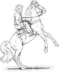 Valuable Horse And Rider Coloring Pages Realistic Western Cowboy Riding Page