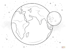 Moon Coloring Page Earth And Free Printable Pages Disney