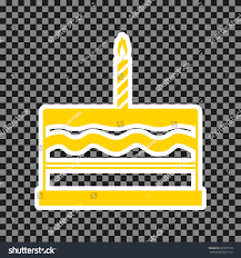 Birthday cake sign Vector Yellow icon with white contour on dark transparent background