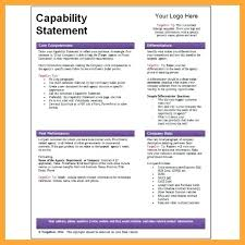 Capability Statement Template Word Study Excel Free One Page