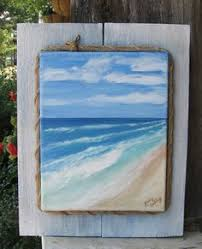 Beach Painting With Pallet Wood Frame On Etsy 4000