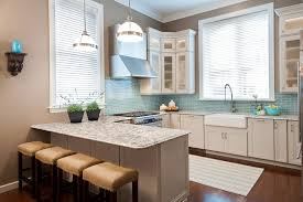 blue subway tile kitchen transitional with stainless steel