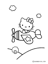 Hello Kitty In Airplane Coloring Page