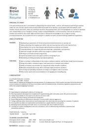 Nurse Resume Format Nursing Cv Template Examples Sample Registered