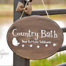 Rustic Bear Bathroom Decor Bath Wall Hanging Country Sign