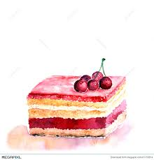 Slice of cake Watercolor birthday card