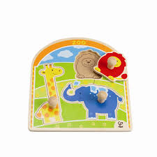 Hape Kitchen Set Singapore by Hape E1302 At The Zoo Animals Knob Puzzle E1302 12 Months