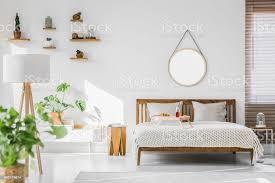 eine weiße lichtdurchfluteten hotel schlafzimmer innenraum mit monstera deliciosa pflanzen kakteen in regalen und einen runden spiegel über eine