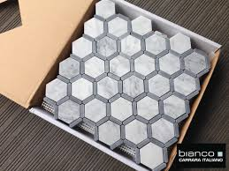 italian carrara hexagon mosaic with bardiglio gray for