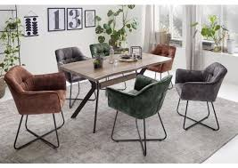stuhl esszimmerstuhl panama mit x kufe rund vintage veloursoptik 2er set