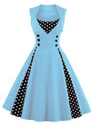 vintage dresses light blue s button embellished polka dot retro