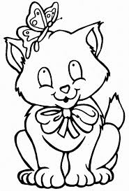 Cat And Butterfly Coloring Pages