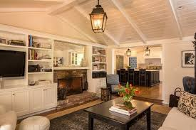 Interior Decoration Traditional Living Room With White Sofa And Round Ottoman Near Black Coffee Table Also Bookshelves Rustic Fireplace