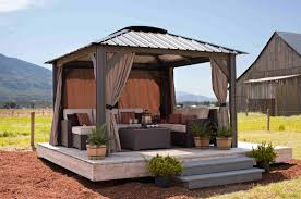 Ravishing Backyard Gazebo Canopy Steel Frame Wooden Floor Brown ... Outdoor Ideas Magnificent Patio Window Shades 5 Diy Shade For Your Deck Or Hgtvs Decorating Gazebos And Canopies French Creative Diy Canopy Garden Cozy Frameless Simple Wooden Gazebo Home Decor Awesome Backyard Tents Appealing Swing With Sears 2 Person Black Wicker Easy Unique Image On Stunning Small Ergonomic Tent Living Area Also Seating Backyard Ideas