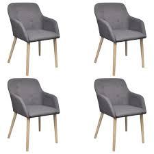 vidaxl esszimmerstühle 4 stk hellgrau stoff und massivholz eiche