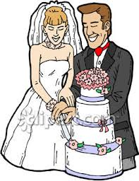 Bride and Groom Cutting the Cake Clipart Royalty Free Clip Art Illustration