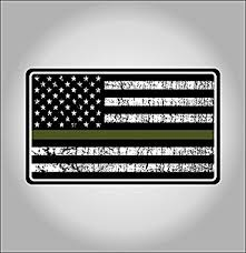 Military Thin Line USA Flag Decal American Sticker Grunge Distressted Green Stripe For Ars And