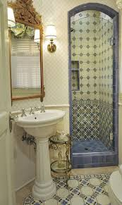 decorative tiled alcove for small walk in shower wc