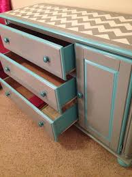Reineke Paint And Decorating by Chevron Dresser Makeover Sides Of Drawers Painted Teal Knobs