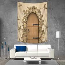 Amazoncom Rustic Wall Tapestry Wine Cellar Entrance Stone