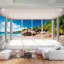 details zu vlies fototapete strand meer terrasse landschaft wohnzimmer tapete wandbilder 99