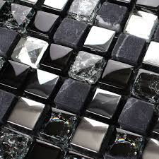 tst glass tiles black grey squared grid marble kitchen