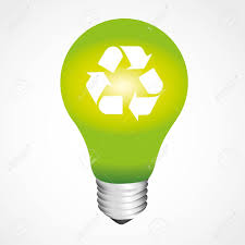 Green Light Bulb Recycling Symbol Isolated White Background