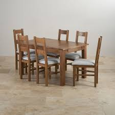 100 Oak Table 6 Chairs Rushmere Dining Set In Rustic Extending Black