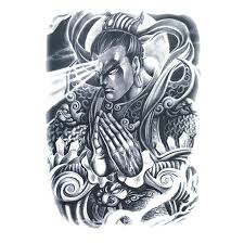 China Ancient Myth Character Tattoo Ares Erlang Yang Jian Whole Back Waterproof Temporary Stickers 34x48cm