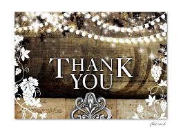Rustic Vineyard With Lights Flat Thank You Card