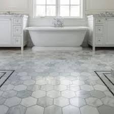 classic modern bathroom with the home depot hexagon floor tile