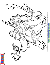 Kristoff Anna And Olaf Riding Sven Coloring Page