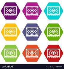 Turkish Carpet Icon Set Color Hexahedron Vector Image
