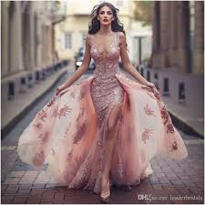 2018 Latest Fashion Muslim Evening Dress Illusion Deep V Neck Tulle Sequins Party Dresses Sexy Split Prom Gowns The Ultimate Trendy