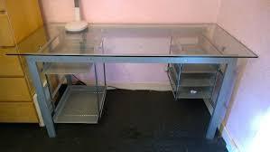 Studio Rta Desk Glass by Desk Glass And Metal Corner Computer Desk Black Glass Top Metal