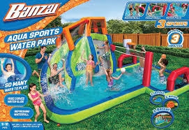 Amazon.com: Banzai Aqua Sports Inflatable Water Park: Toys & Games Water Park Inflatable Games Backyard Slides Toys Outdoor Play Yard Backyard Shark Inflatable Water Slide Swimming Pool Backyards Trendy Slide Pool Kids Fun Splash Bounce Banzai Lazy River Adventure Waterslide Giant Slip N Party Speed Blast Picture On Marvellous Rainforest Rapids House With By Zone Adult Suppliers