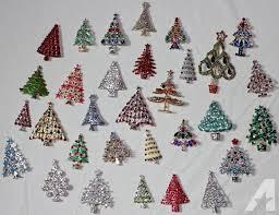 Vintage Style Rhinestone Christmas Tree Pins