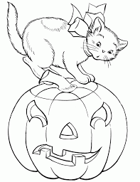 Cute Cat With Pumpkin Halloween Coloring Pages