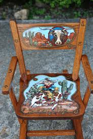 Hand-painted Little Boy's Western Rocking Chair | Painted ... Rocking Nursery Chair Hand Painted In Soft Blue Childrens Chairs Babywoerlandcom 20th Century Swedish Dalarna Folk Art Scdinavian Antique Seat Replacement And Finish Teamson Kids Boys Transportation Personalized White Wood Childs Rocker Kid Sports Custom Theme Girl Boy Designs Brookerpalmtrees Wooden Beach Natural Lumber Hot Sell 2016 New Products Office Buy Ideas Emily A Hopefull Rocking Chair Rebecca Waringcrane