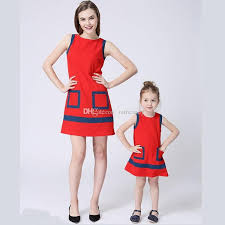 2017 Summer Mother Daughter Dresses Kids Formal Dress Gilrs Women Red Wedding Guest Family Clothes Clothing Baby Matching