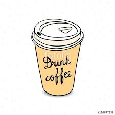 Cute Coffee Cup Paper To Go Hand Drawn Hipster Cups