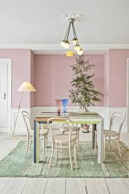 dining room in pink color mix pink a colorful table green