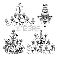 Decorative Elegant Luxury Crystal Chandelier Icons Set Isolated Vector Illustration
