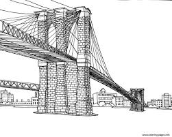City Coloring Adult New York Pont Brooklyn Pages Print Download