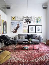 rug gallery wall and gray sofa in scandinavian