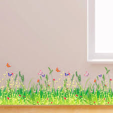 New Home Decoration Pvc Wall Sticker Spring Wilderness Romantic Skirting Line Stickers Decorative Decals Art Adhesive Affordable