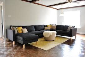 Karlstad Sofa Metal Legs by Assembling Our Ikea Sectional Sofa We Love It Young House Love