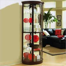 Pulaski Glass Panel Display Cabinet by Pulaski Chocolate Cherry Ii Half Round Curio 20857
