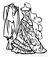 Wedding Dress clipart black and white 1
